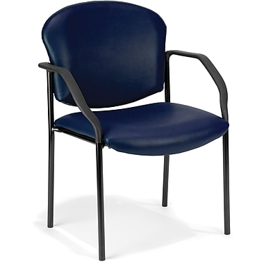 OFM Manor Steel Guest/Reception Chair, Vinyl, Navy (811588014064)