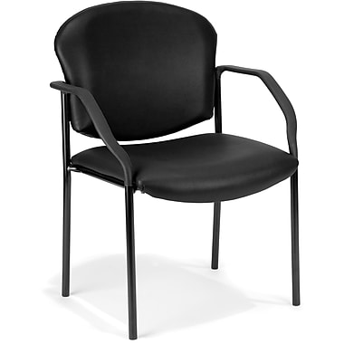 OFM Manor Steel Guest/Reception Chair, Vinyl, Black (811588014088)