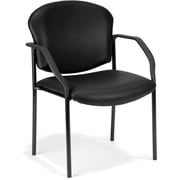 OFM Manor Steel Guest/Reception Chair, Vinyl, Black (404-VAM-606)