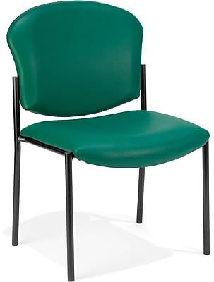OFM Manor Series Model 408-VAM Armless Guest and Reception Chair, Anti-Microbial/Anti-Bacterial Vinyl, Teal, (408-VAM-602)