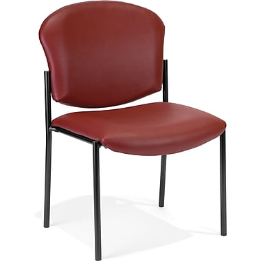 OFM Manor Steel Guest/Reception Chair, Wine (811588013197)