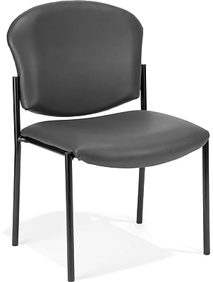 OFM Manor Series Model 408-VAM Armless Guest and Reception Chair, Anti-Microbial/Anti-Bacterial Vinyl, Charcoal, (408-VAM-604)