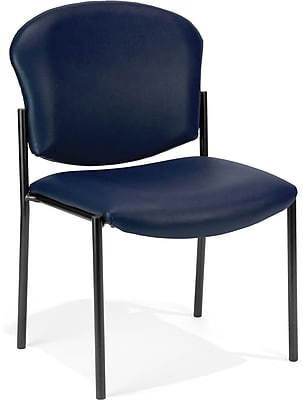 OFM Manor Series Model 408-VAM Armless Guest and Reception Chair, Anti-Microbial/Anti-Bacterial Vinyl, Navy, (408-VAM-605)