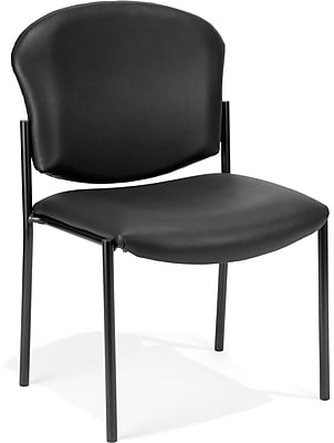 OFM Manor Series Model 408-VAM Armless Guest and Reception Chair, Anti-Microbial/Anti-Bacterial Vinyl, Black, (408-VAM-606)