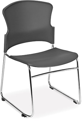 OFM Multi-Use Stack Chair with Plastic Seat and Back, Gray, Pack of 4, (310-P-4PK-A01)