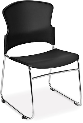 OFM Multi-Use Stack Chair with Plastic Seat and Back, Black, Pack of 4, (310-P-4PK-A02)