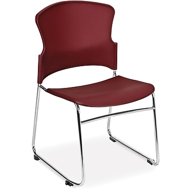 OFM Multi-Use Plastic Seat and Back Stack Chair, Wine (845123049167)