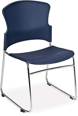 OFM Multi-Use Stack Chair with Plastic Seat and Back, Navy, Pack of 4, (310-P-4PK-A11)