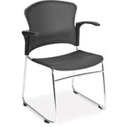 OFM 845123049181 Plastic Stack Chair, Chrome/Black