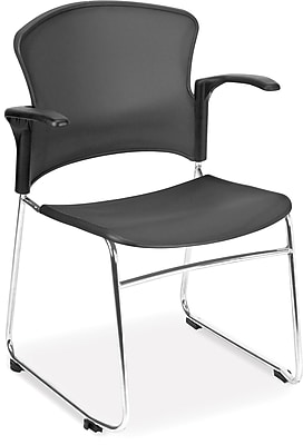 OFM Plastic 4-Pack Stack Chair, Chrome/Black (310-PA-4PK-BLK)