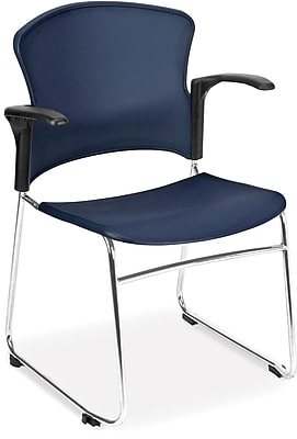 OFM Plastic Seat and Back Multi-Use Chair With Arms, Navy, 4/set