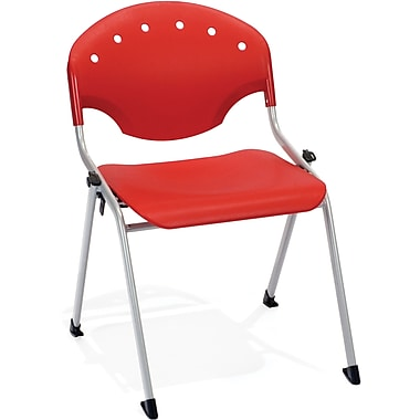 OFM Rico Polypropylene Stack Chair, Red (845123048498)