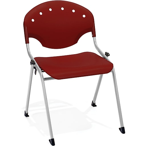 OFM Rico Polypropylene Stack Chair, Burgundy, 4-Pack, (305-4PK-P17)