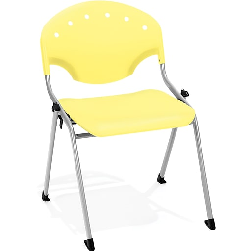 OFM Rico Polypropylene Stack Chair, Yellow, 4-Pack, (305-4PK-P23)