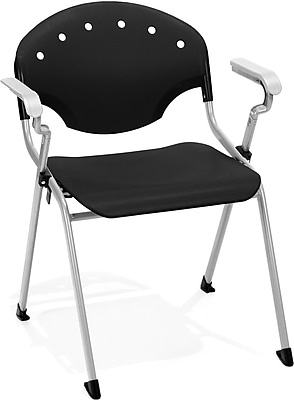 OFM Rico Polypropylene Stack Chair With Arms, Black, 4-Pack, (306-4PK-P0)
