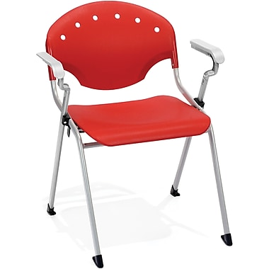 OFM Rico Polypropylene Stack Chair With Arms, Red (845123049013)