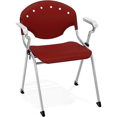 OFM Rico Polypropylene Stack Chair With Arms, Burgundy (845123049020)