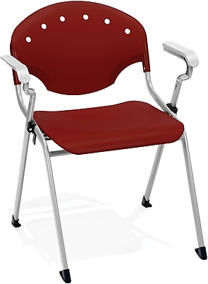 OFM Rico Polypropylene Stack Chair With Arms, Burgundy, 4-Pack, (306-4PK-P17)