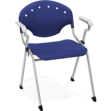 OFM Rico Polypropylene Stack Chair With Arms, Navy (845123049044)