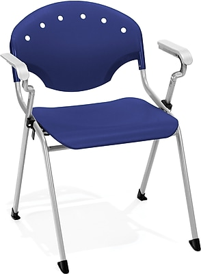 OFM Rico Polypropylene Stack Chair With Arms, Navy, 4-Pack, (306-4PK-P46)