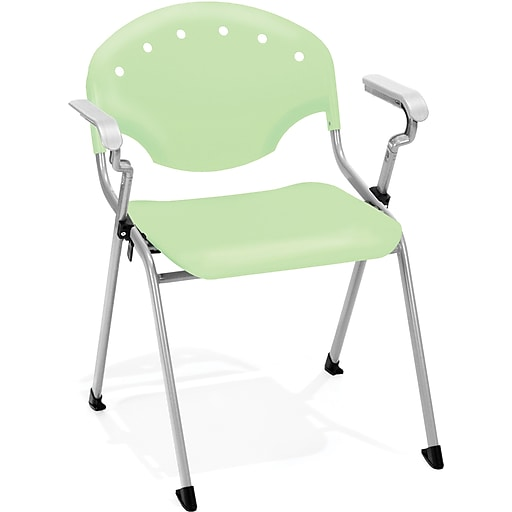 OFM Rico Polypropylene Stack Chair With Arms, Green, 4-Pack, (306-4PK-P52)