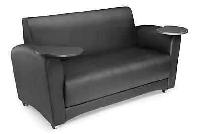 OFM Interplay Polyurethane Double Seat Tablet Sofa, Black