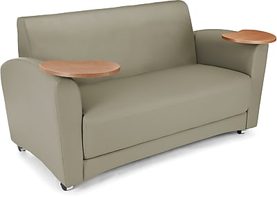 OFM Interplay Polyurethane Double Seat Tablet Sofa, Taupe