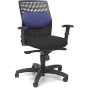 OFM Airflow Fabric Computer and Desk Office Chair, Adjustable Arms, Blue (811588015122)