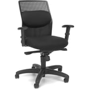 OFM Airflow Fabric Computer and Desk Office Chair, Adjustable Arms, Black (811588015160)
