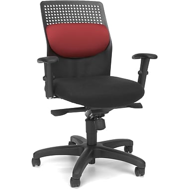 OFM Airflow Fabric Computer and Desk Office Chair, Adjustable Arms, Burgundy (811588016761)
