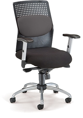OFM Airflow Fabric Executive Office Chair, Adjustable Arms, Gray (811588015207)