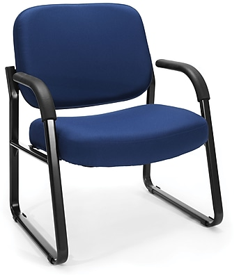 OFM Steel Guest/Reception Chair with Arms, Navy (407-804)