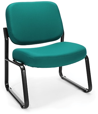OFM Big and Tall Fabric Armless Guest and Reception Chair, Teal, (409-802)