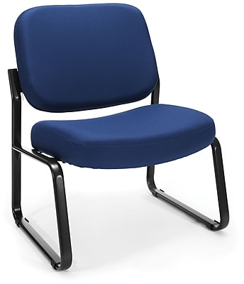 OFM Big and Tall Fabric Armless Guest and Reception Chair, Navy, (409-804)