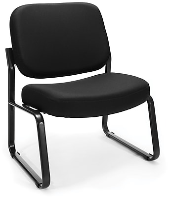 OFM Big and Tall Fabric Armless Guest and Reception Chair, Black, (409-805)
