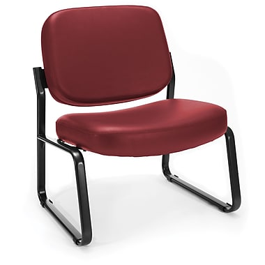 OFM Big and Tall Vinyl Guest/Reception Chair, Wine (845123028674)