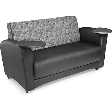 OFM Interplay Polyurethane Double Seat Tablet Sofa, Nickel/Black (845123031193)