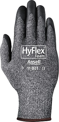 Ansell 11-801 Nylon/Foam Nitrile Assembly Dark Gray/Black Gloves, Size Group 11