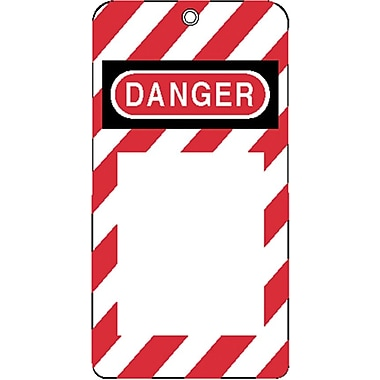 North® ELA290 Grommetted Styrene Lockout Tag, Red/White(Background)