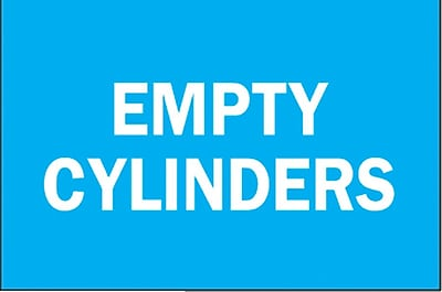 Brady® Empty Cylinder Chemical & Hazardous Materials Sign, 7