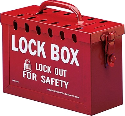 Brady® 65699 Portable Metal Lock Box, Red
