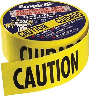 Empire® Yellow/Black Reinforced Construction Grade Cuidado Tape, Caution Cuidado, 500', 4/Ct