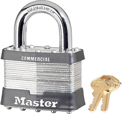 Master Lock® 15DCOM Laminated Steel Pin Tumbler Padlock, 5 Pin