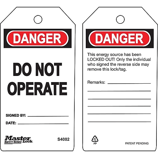 """Master Lock® Guardian Extreme™ Do Not Operate Safety Tag, 5 3/4""""(L) x 3""""(W)"""