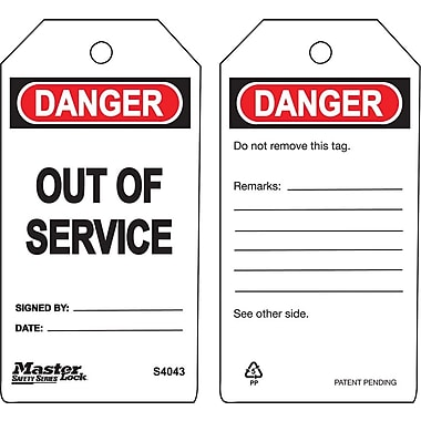 Master Lock® Guardian Extreme™ Out of Service Safety Tag, 5 3/4