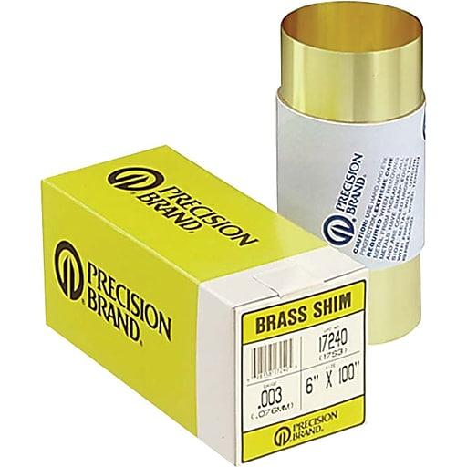 "Precision Brand® Plain Brass Shim Stock Roll, 0.05"" x 6"" x 60"""
