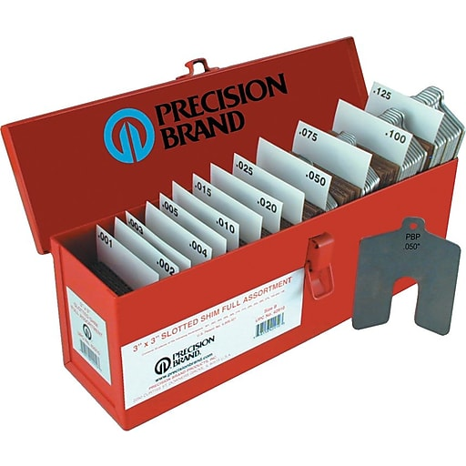 "Precision Brand® Plain Stainless Steel Slotted Shim Assortment Kit, 4"" x 4"""
