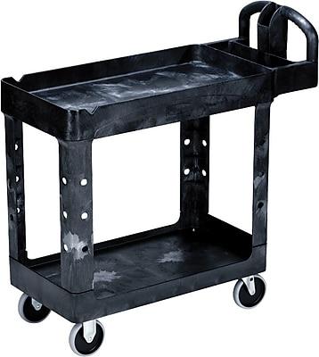 Rubbermaid® Heavy Duty 2-Deep Tray Lipped Shelf Utility Cart, 39