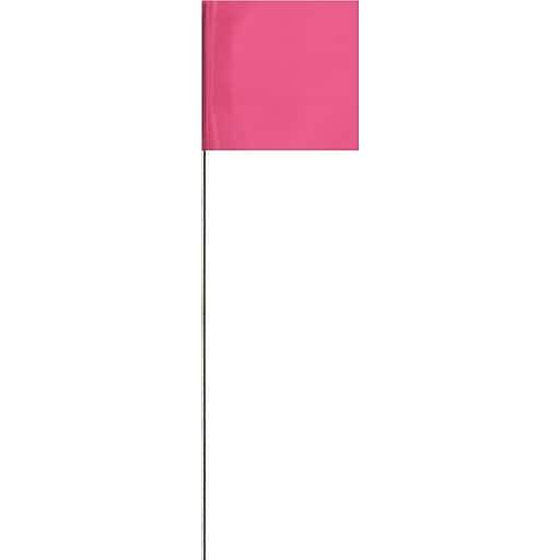 """Presco 21""""(L) x 3""""(W) x 2""""(H) Stake Flag, Pink Glo, 100/Pack"""