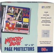 "C-Line Memory Book Top-Load Page Protectors, 12"" x 12"", 3-Ring and Postbound"